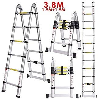 Meditool 5M(2,5M+2,5m) Escalera plegable aluminio,Escalera Telescópica,Escalera plegable,16 Escalones Antideslizantes, 150kg