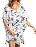 L-Peach Donna Tunica Copricostumi Parei per Costume da Bagno Fiore Stampato con Nappe per Spiaggia Bikini Cover Up