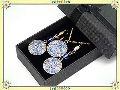 Parure Collier Boucles Lisboa azulejo bleu blanc laiton doré 24k gold filled 14k résine cadeaux personnalisés cadeau noel maman anniversaire cérémonie mariage invité fête des mères