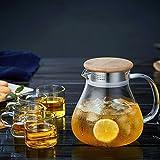 ZLR Glas Teekanne Haushalts Kochgeschirr Set hitzebeständigem Glas Filter Hochtemperatur-Hochleistungs-Teekanne 1L (Teekanne +4 Tassen)