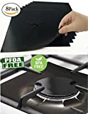 8 PCS Gas Range Protectors, Black Stovetop Burner Protector Liner Cover Cleaners, Reusable, Non-Stick, Dishwasher Safe, Easy to Clean-FDA Approved