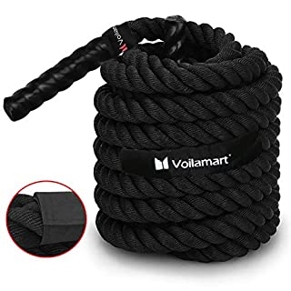 Voilamart 12M Battle Rope 50mm Body Strength Training Power Ropes Bootcamp Sport Exercise Fitness Rope with Wall Ground Anchor