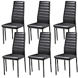 Popamazing Black Faux Leather Parson Dining Chair High Back Seat for Kitchen Dining Room (Set Of 6)