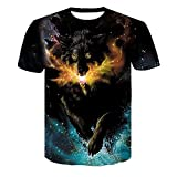 Herren Kurzarm Wolf 3D Print Tier Cool Funny T-Shirt Sommer Top T-Shirt Herrenmode T-Shirt Male4XL (Farbe : #18, größe : 2XL)