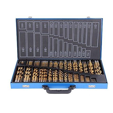 Ridgeyard 230pcs 1-13mm Titane Drill Set Drills Outil Nitrure Revêtement Étain pour Métal Cuivre Bois Plastique