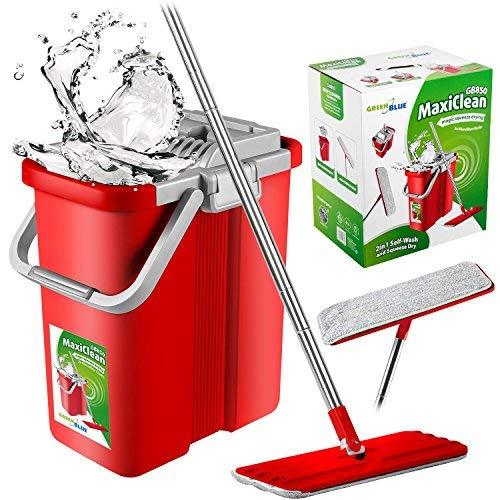 GreenBlue GB850 MaxiClean Flach-Mopp und 2 in 1 Eimer Wischmop Set Wischmop Bodenwischer Mopp Mop Reinigungssystem Reiniger