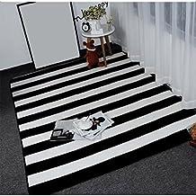 Creative Light Schwarz Weiß Gestreiften Plaid Einfach Zu Reinigen,  Rutschfeste Kurze Fleece Teppich