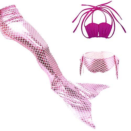 Le SSara Mädchen-Meer-Mädchen Cosplay Badebekleidung Meerjungfrau Shell Badeanzug 3pcs Bikini-Sets (130, C rot+rosa)