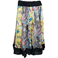 Mogul Interior Retro Skirt Printed Patchwork Boho Gypsy Flare Indian Skirts