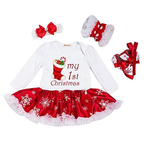 4 Stück Baby Mädchen Weihnachtsmann Kostüm Kurze Ärmel Bekleidung Set, 3-6 Monate