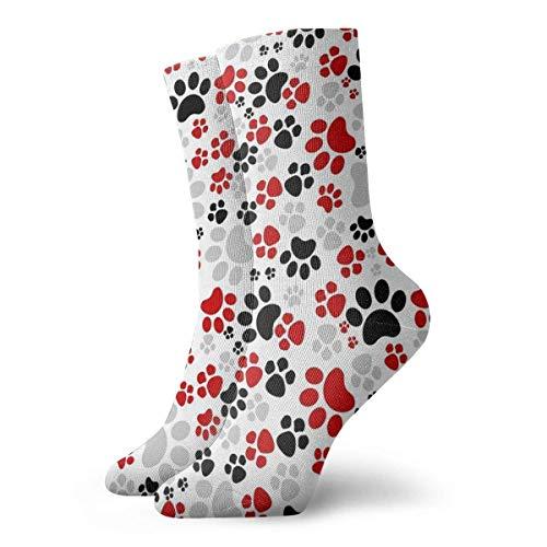 Zhengzho Socken atmungsaktiv verrückt bunt Hund Pfoten Crew Socke exotische moderne Frauen & Männer gedruckt Sport athletische Socken 30 cm (11,8 Zoll) - Frauen Athletische Socken