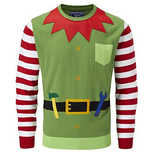 charles wilson maglione natalizio originale (large, elf 3d (1019))