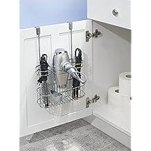 mDesign Estantería de baño – Mueble esquinero para la ducha de acero inoxidable con 2 baldas – Estante de baño para lociones, toallas de mano, jabón, etc. – satinado