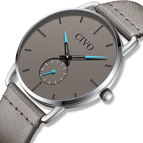fe58d1365d88 CIVO Relojes Hombre Impermeable Minimalista Reloj de Cuero Moda Deportivo  Caballero Analogico Casuales Negocios Clásico Relojes de Pulsera para  Hombres