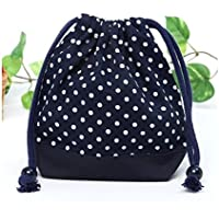Preisvergleich für Drawstring Gokigen lunch (small size) gusset bag polka dot cup, dark blue, dark blue x Ox made in Japan N3512700 (japan import)