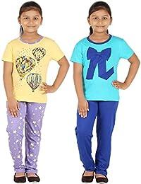 FICTIF Kid Girl's Top & Pyjama Set (2FG303-PURTI Purple & Yellow,Light Blue & Dark Blue ) Pack Of 2