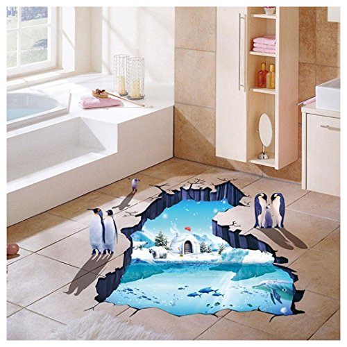 Wall Stickers, Fuibo 3D Floor Wall Sticker Removable Mural Decals Vinyl Art Room Decor Polar Glaciers