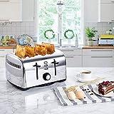 Aicok Toaster, 4-Scheiben Edelstahl Toaster mit 7 Brot Browning Einstellungen, abnehmbare Krümelschublade, Bagel/Auftauen/Abbrechen Funktion, schnell Toast Muffins, Waffel, 1400W-1700W, Silber - 2
