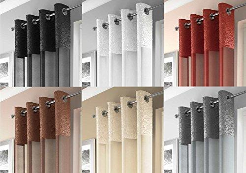 Maderia, Ösenschal, Transparente Gardine, Zerdrückt Satin, Vorhänge, Weiß, 135cm x 229cm (Satin-vorhänge)