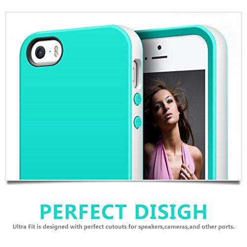 iPhone SE Hülle, Pasonomi® Weich Silikon Bumper Case und Anti-Scratch Handy Tasche Schutzhülle für Apple iPhone SE 5S 5 (Grau) Grün
