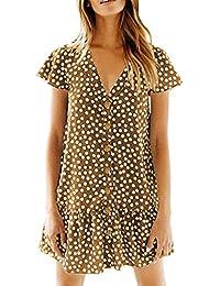 0a80abc62092d0 Damen Kleid, Polka Dot V-Ausschnitt Button Down Rüschen Loose Mini Short T-