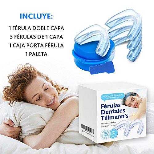 Tillmann s® Férula Dental Bruxismo 4 unidades Férula De Descarga Para Rechinamiento De Dientes Protector Bucal Para Dormir Silicona 100% Libre De BPA