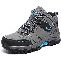 NEOKER Hombre Botas de Trekking y Senderismo Impermeables Aire Libre y Deportes Exterior Montaña Forro Piel Zapatos Gris 39