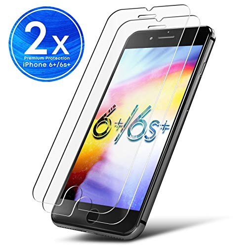 UTECTION 2X Schutzglas Folie für Apple iPhone 6 Plus / 6s Plus - Schutzfolie aus Glas gegen Displayschäden - Passgenaue Schutzglasfolie Anti Kratzer - Displayschutzfolie Clear Durchsichtig - 6 Plus Zubehör