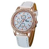 Darringls_Reloj 055 Geneva,Reloje Hombres Mujer Reloj Deportivo Reloj de Pulsera de Cuarzo de aleación de Banda de Cuero de Dibujos