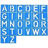 Shappy 26 Pièces Pochoir Lettre en Plastique Pochoir Alphabet pour l'Apprentissage de la Peinture DIY, Bleu