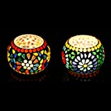 Candle Tea Light Holders With Free-2 Tea Lights From IHandikart Handicrafts,Multi Colour Beautiful Glass Material Candle Tealight Stand Set For Home Decoration, Candle Lights For Living Room And Dining Table, Antique Glass Material Candle Tealight Stand F
