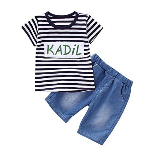 SUCES Kleinkind Kind Baby Jungen Mädchen Outfits Kleidung Streifen T-shirt Tops + Shorts Hosen Set Kinder Rentier Pyjamas Sets Kinder Kleidung Set Jungen Baumwolle Kleinkind (12M, Navy) (Herz-fleece Pyjama-hosen)