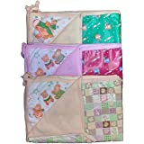 BabyBlossom New Born Baby One Sided Cloth & One Side Plastic Sheet ( Combo Pack Of 3) (Large Size)