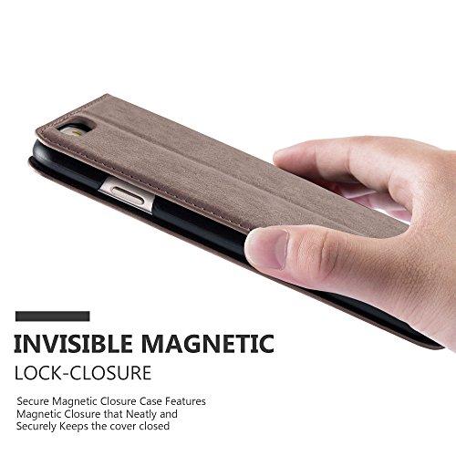 Apple iPhone 6 / 6S Hülle in PETROL-TÜRKIS von Cadorabo - Handy-Hülle mit unsichtbarem Magnet-Verschluss Standfunktion und Karten-Fach Case Cover Schutz-hülle Etui Tasche Book Klapp Style KAFFEE-BRAUN