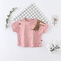 YT Camisa de cocodrilo de los niños de Verano de Marea Infantil de Manga Corta Cuello Redondo Que Basa la Camisa,Rosado,100cm