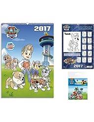 Set: La Patrulla Canina, Calendario Para Colorear 2017 (42x30 cm) Con 1x Set De Chapas (15x10 cm)
