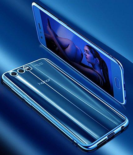 """Coque Huawei Honor 9 (5.15""""), MSVII® TPU Souple Transparent Bumper Coque Etui Housse Case et Protecteur écran Pour Huawei Honor 9 (5.15"""") - Bleu JY60063 Bleu"""