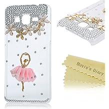 Funda para Samsung Galaxy Core Prime SM-G360F G3606 G3608 G3609,- Mavis's Diary 3D Bling Diamantes Hecho A Mano Funda Diseño de bailarina Duro Protección Transparente PC Case Cover Cáscara