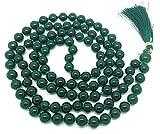 Verde Jade Japa Mala 108 cuentas cada 8 mm de ancho, más 1 más grande del grano gurú, 43 pulgadas de largo, con las piedras preciosas reales, para su uso en la meditación o como un collar