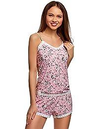 oodji Ultra Mujer Pijama de Microfibra con Acabado de Encaje