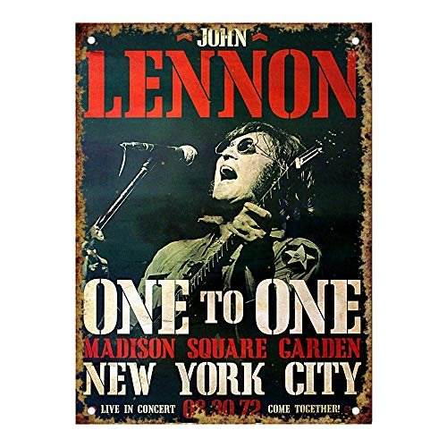 Garden Club Teller (HiSign John Lennon Madison Square Garden Vintage Blechschild Antike Metall gemälde Retro Wandschild Teller Poster Kaffee-Dekoration für Zuhause Club Bar Café Hotel)