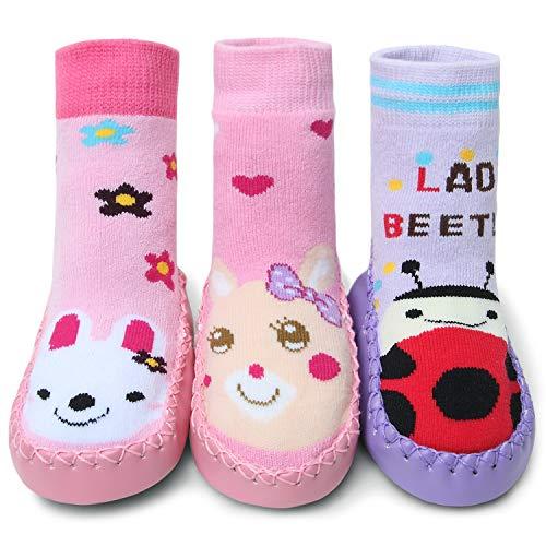 Adorel Baby Hüttenschuhe Gefüttert Socken Rutschfest 3 Paar Bunt Tier-Motiven 18-24 Monaten