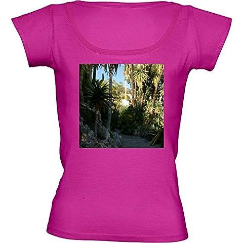 Camiseta Cuello Redondo para Mujer - Jardines De La Colina, Mónaco 2 by Cadellin