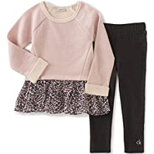 Calvin Klein Baby Girls' French Terry/Georgette Tunic with Leggings Set