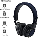 OPTA BH004 On-Ear 2 in 1 Foldable Headsets With Microphone + Noise reduction + HD Deep Bass + Stereo Hi Fi + Bluetooth 4.2+ Wireless/ Wired - Blue