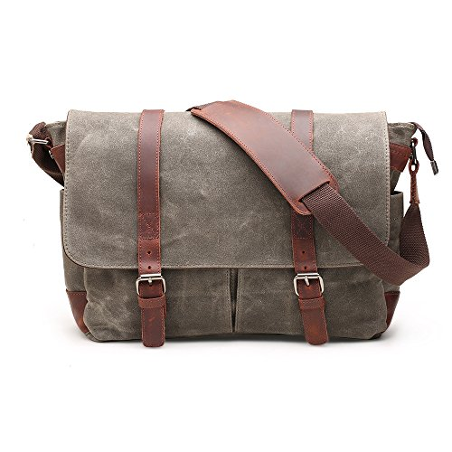 Bag Canvas Messenger Grün (Messenger Bag H-ANDYBAG Waxed Canvas Vintage Schultertasche Passt 15 Zoll Laptop(Armee grün))