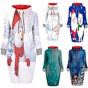 Toasye Weihnachtsschneeflocke-Druck-Rollkragen-Loses Langes HüLsen-Strickjacke-Kleid Damenmode Weihnachtsdruck Kragen Lose Langarm-Sweatshirt-Kleid
