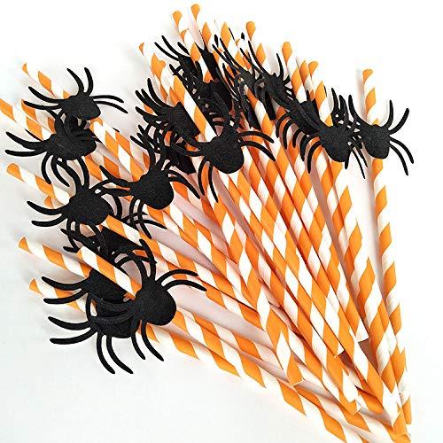 pier jetables biodégradables pailles pailles fête d'Halloween-Accessoires Halloween-Fête Mélange de couleurs N°4 ()