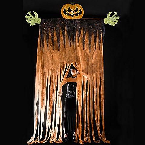 Rideaux 350 Cm - Rideau Porte Monstre Citrouille 350cm Halloween Horreur