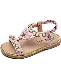 OHQ Scarpe per Neonato, Girls Flowers Beach Sandals Sandali da Spiaggia di Fiori per Ragazze Rosa Bianca Sandali Scarpe da Bambino Scarpe da Principessa Scarpe Romane (26, Bianca)